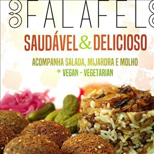 Falafel +Mijardra (5 falafeis + salada + arroz com lentilha + molho Tarator)